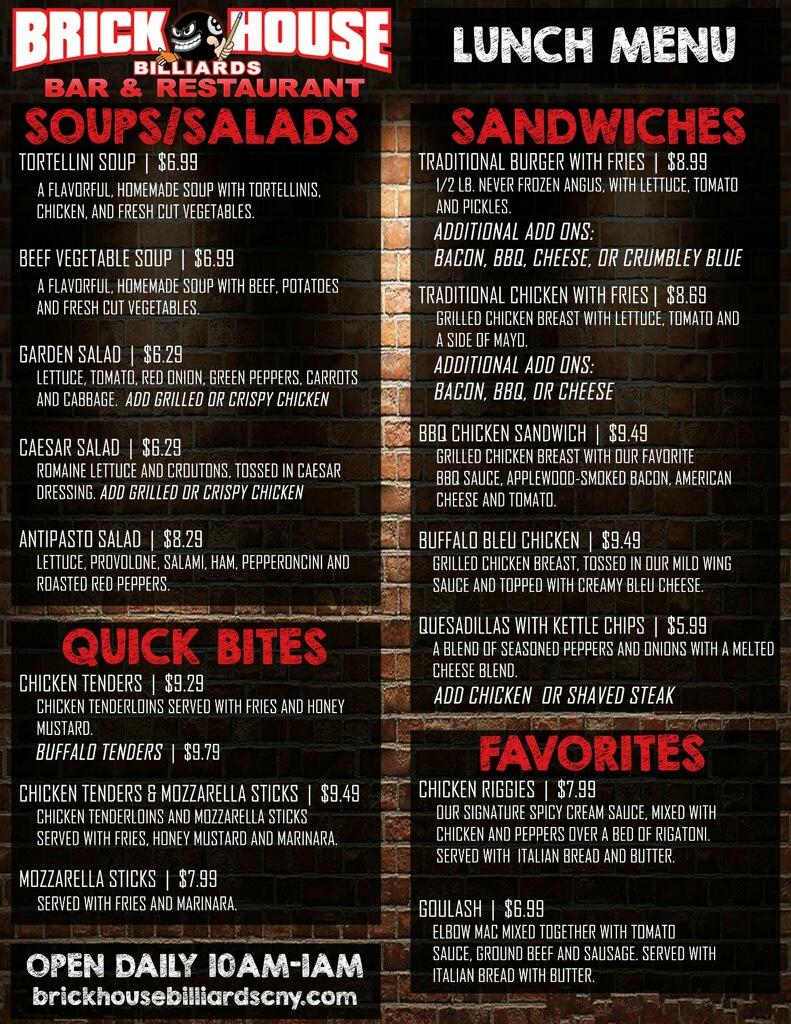 lunch menu Brick House Billiards Bar Restaurant