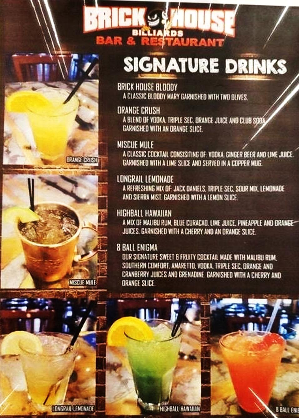 DRINKS at Brick House Billiards Bar Restaurant